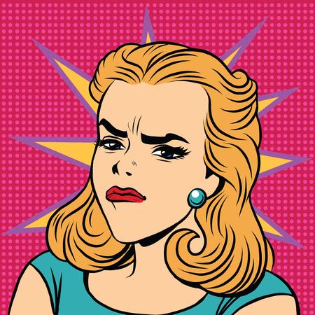 Emoji retro ira emoticonos chica disgusto. ilustración del arte pop. Mujer Emoji. chica cara emociones. chica retro Emoji Ilustración de vector
