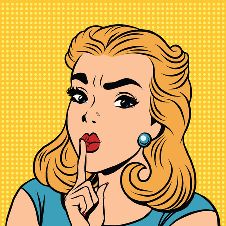 shhh: Emoji retro Shhh silence girl emoticons. Pop art illustration. Emoji woman. Emotions girl face. Retro Emoji girl