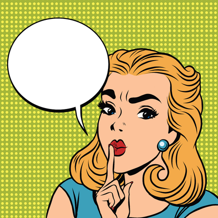 Emoji retro Shhh silence Mädchen Emoticons. Pop-Art-Illustration. Emoji Frau. Emotion Mädchen Gesicht. Retro Emoji Mädchen Vektorgrafik