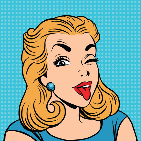 prankster: Emoji retro tongue girl emoticons. Pop art illustration. Emoji woman. Emotions girl face. Retro Emoji girl