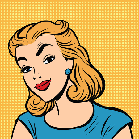 nice smile: Emoji retro Nice smile girl emoticons. Pop art illustration. Emoji woman. Emotions girl face. Retro Emoji girl