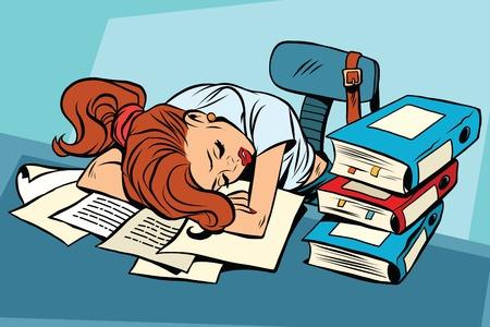Młoda kobieta śpi w pracy lub szkole Pop Art bohatera komiksu. Edukacja i College.