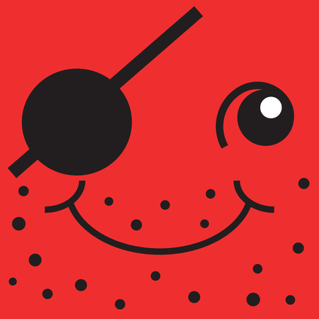 unshaven: Red smiley face one-eyed pirate, pop art illustration. Icon of hacking and adventure