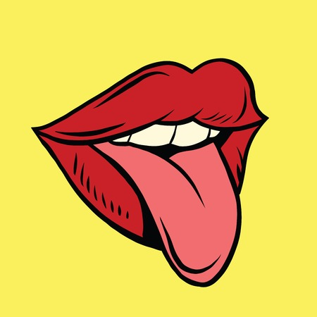 prank: Red pop art mouth with tongue hanging out, illustration. Joke and prank