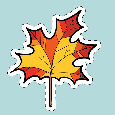 Autumn maple leaf, nature seasons pop art illustration. label sticker Illustration
