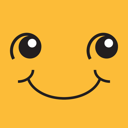 Smiling face with eyes and mouth, pop art illustration. Square yellow sticker