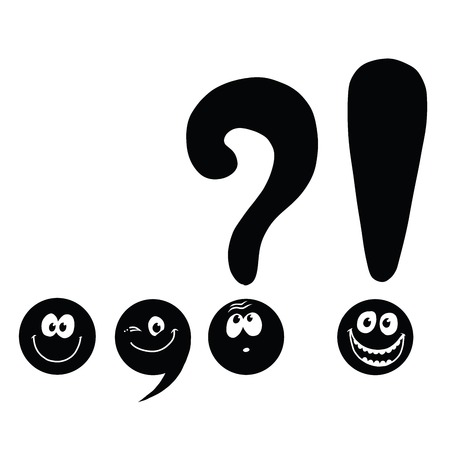and comma: set of funny smiley punctuation, pop art comic illustration. Dot, comma, question mark, exclamation point. Black and white
