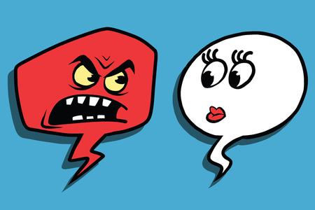 rage: Anger comic bubble face man woman, pop art comic illustration. Rage, scandal, screaming Stock Photo