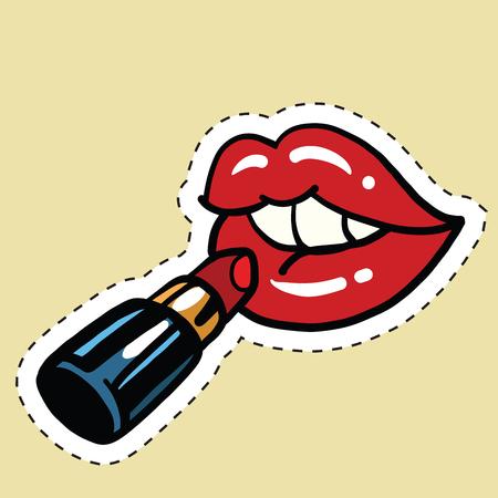 붉은 입술에 적용 립스틱, 팝 만화 그림 예술. 아름다움과 화장품 여자 스톡 콘텐츠