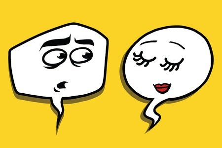 modesty: shy modest comic bubble face man woman, pop art comic illustration Stock Photo