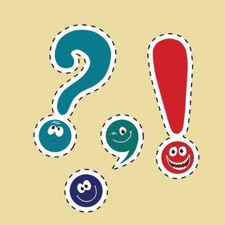 point exclamation: ensemble de la ponctuation smiley drôle, pop art illustration comique. Dot, virgule, point d'interrogation, point d'exclamation. autocollant étiquette de couleur