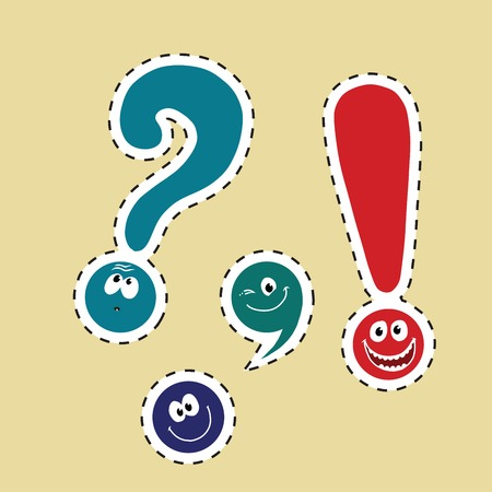 set of funny smiley punctuation, pop art comic illustration. Dot, comma, question mark, exclamation point. color label sticker