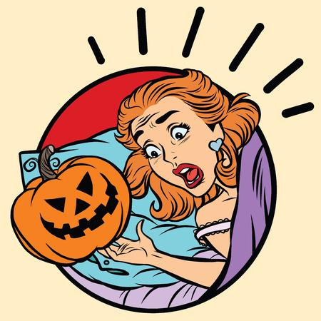 prank: Girl scared Halloween evil pumpkin, pop art comic illustration