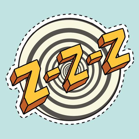 Zzz 소리 잠 및 zumm, 팝 아트 만화 그림입니다. 레이블 스티커 커팅 컨투어 일러스트