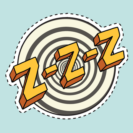 snore: Zzz sound sleep and zumm, pop art comic illustration. Label sticker cutting contour Illustration