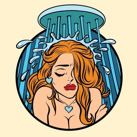 아름다운 복고 소녀 샤워, 팝 만화 그림 예술 울고. 우울증과 슬픔