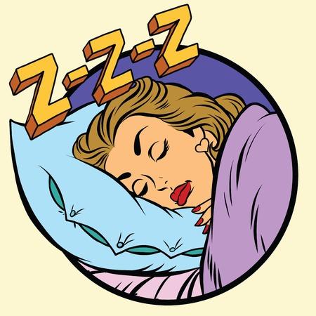 one girl only: Comic girl sleeping in bed, pop art comic illustration