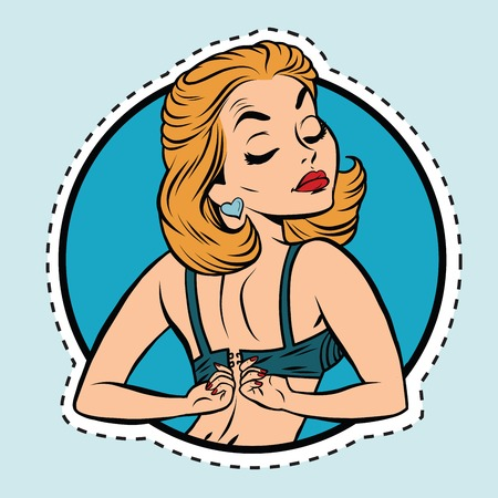 Pin-up girl draagt ​​een beha, pop art komische illustratie. Label sticker snijcontouren