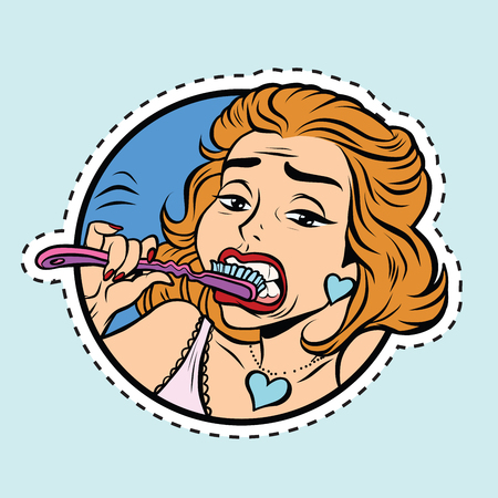 Beautiful girl brushing her teeth, pop art comic illustration. Label sticker cutting contour