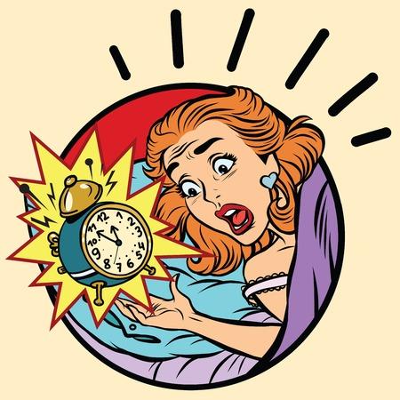 Comic girl woke up from the alarm, pop art comic illustration Stock fotó