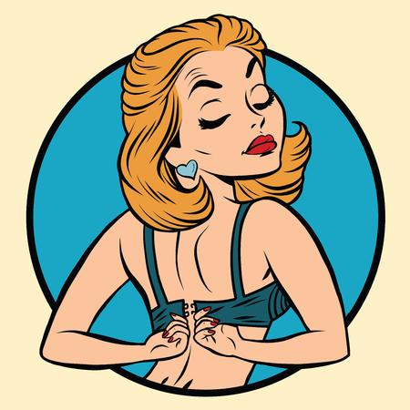 ブラ、ポップアート漫画イラスト、ピンナップ ガールが着ています。
