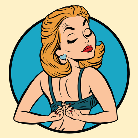 Pin-up girl draagt ​​een beha, pop art komische illustratie