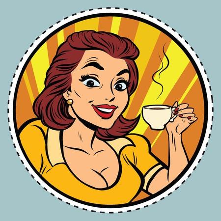 Comic young beautiful woman drinking coffee, pop art retro comic book illustration. Hot drink. sticker label form