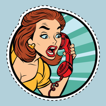 Comic woman talking on retro phone, pop art comic book illustration. sticker label form
