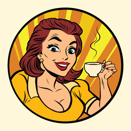 woman drinking coffee: Comic young beautiful woman drinking coffee, pop art retro comic book illustration. Hot drink