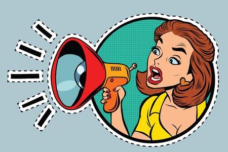 コミック女性アジテーターは、メガホン、pop アート レトロ コミック イラストに叫ぶ。ステッカー ラベル フォーム  イラスト・ベクター素材