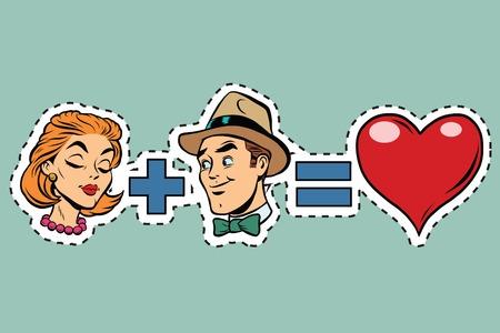 Man plus woman equal love, pop art retro comic book illustration. Red heart Valentine. sticker label Illustration