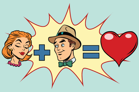 mom and pop: Man plus woman equal love, pop art retro comic book illustration. Red heart Valentine