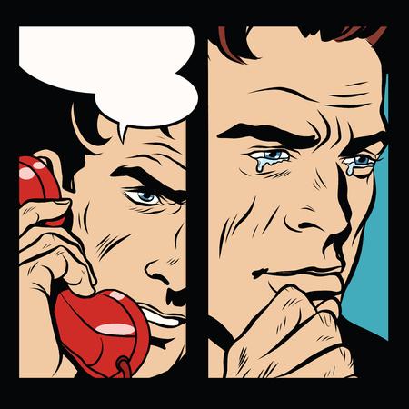 spoke: Tears and pain men who spoke by phone, pop art retro comic book illustration