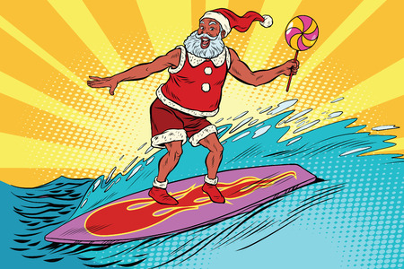 Sports Santa Claus on a surfboard, pop art retro comic book vector illustration. New year and Christmas