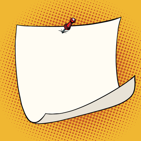 curled corner: White sticker pinned red pushbutton with curled corner, ready for your message. Front view. Top view. Close up, pop art retro comic book vector illustration