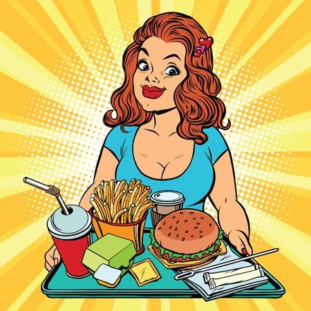 Estilo de vida de la mujer joven y un almuerzo de comida rápida en el restaurante, el arte pop cómic retro ilustración vectorial. Hamburguesas, patatas fritas y una bebida. El concepto de alimentación saludable Foto de archivo - 68502547