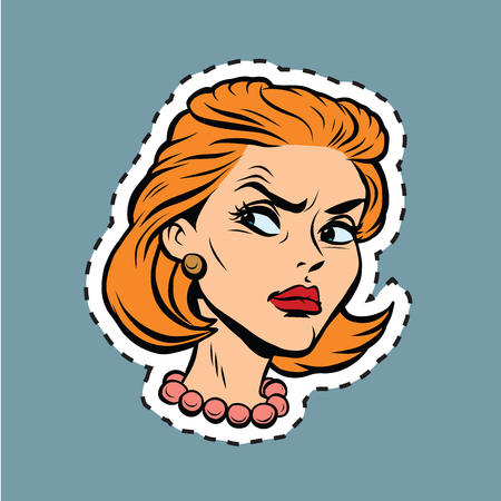 chica cara enojado Emoji etiqueta adhesiva, el arte pop cómic retro ilustración vectorial. La mujer joven de pelo rojo. El esquema para el corte. cara emoji
