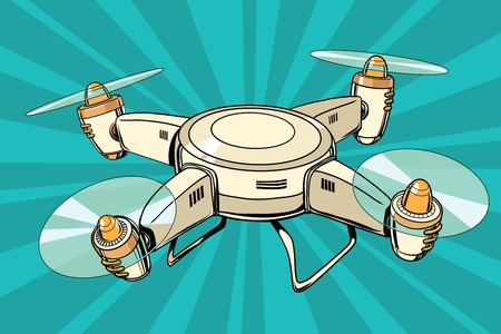 quadcopter toy aircraft, pop art retro comic book vector illustration. Drone flying Stock Illustratie