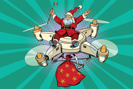 Retro Santa Claus flies on the drone, pop art comic book vector illustration. A bag with gifts. New year and Christmas