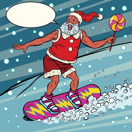 현대 산타 클로스 스노우 보드, 팝 아트 타고 복고 만화 책 벡터 일러스트 레이 션. 겨울 밤 폭설입니다. 새해와 크리스마스