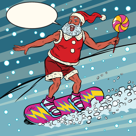 Modern Santa Claus rides on a snowboard, pop art retro comic book vector illustration. Winter night snowfall. New year and Christmas Banco de Imagens - 68502558