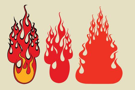Set fire gaming style, pop art retro comic book vector illustration