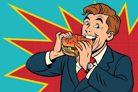 el hombre del arte pop de comer una hamburguesa, la ilustración del vector del libro cómico retro. La publicidad de comida rápida. Promo personas