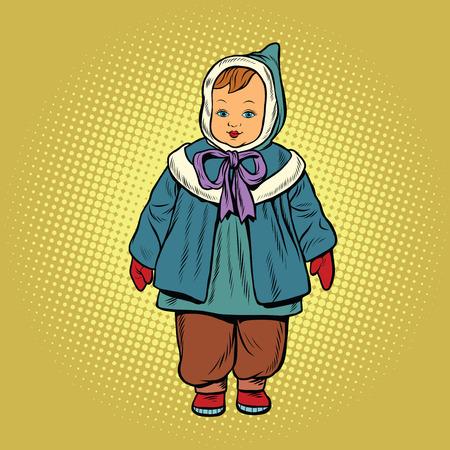 Bambin vêtements rétro poupée, pop art vecteur illustration. Enfance et de la mode Banque d'images - 69558585