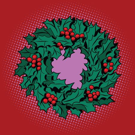 spiked: Christmas wreath of Holly with red berries, pop art retro vector illustration. Green decoration. red background Stock Photo