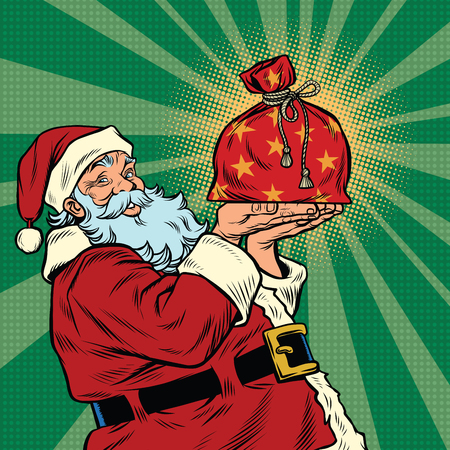 Santa Claus with a festive Christmas gift bag, pop art retro vector illustration Zdjęcie Seryjne