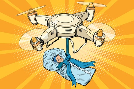 insemination: Drone quadcopter delivery of a newborn baby, pop art retro vector illustration. The concept of artificial insemination, maternity, birth and birthday