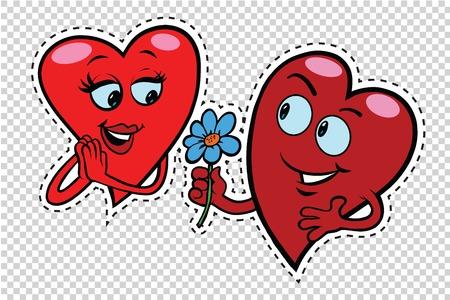Mannelijke karakter geeft een vrouw bloemen, rode hartjes Valentines, pop art retro comic book illustratie. Liefde paar mannelijke en vrouwelijke karakter