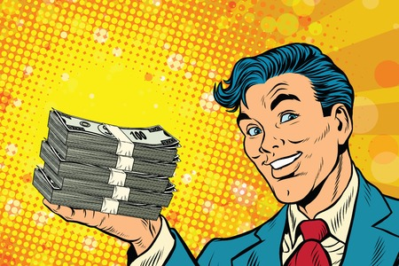 cash book: Financial success businessman with money, pop art retro comic book illustration. Lottery and cash prize