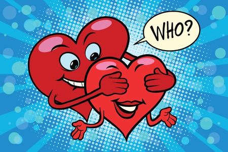 guess: Who close your eyes love couple, pop art retro comic book illustration. Valentines day red hearts. male and female character Illustration